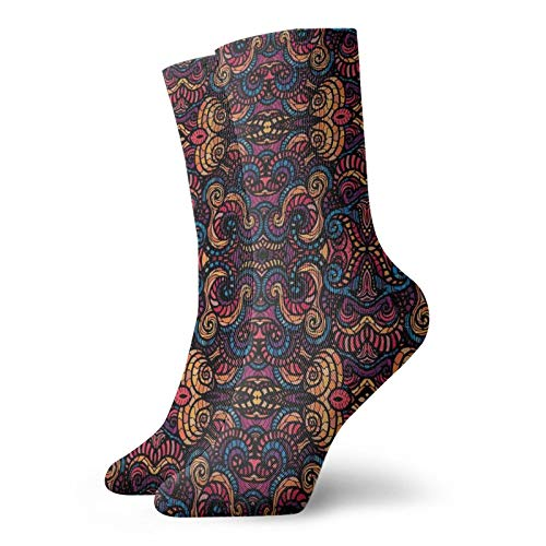 Unisex adult printed sports socks,Hand Drawn Image With Oriental Rainbow Colored Floral Swirls Glass Pattern Image,Men's and Women's street casual sports socks