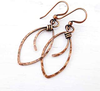 Hammered Copper Marquis Shape Wire Wrapped Handmade Earrings