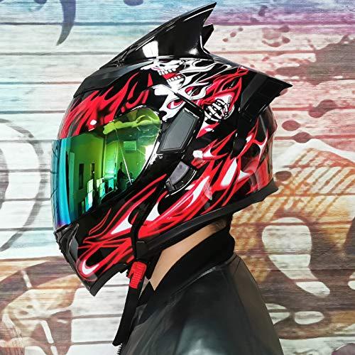 Balscw Doble Visera Casco De Cara Completa/Abierta Casco Modular De Motocicleta Moto Casco De Choque para Hombres Adultos y Mujeres Casco De Moto Modular Doble Visera,Color Mirror+Horn-M(54-57cm)