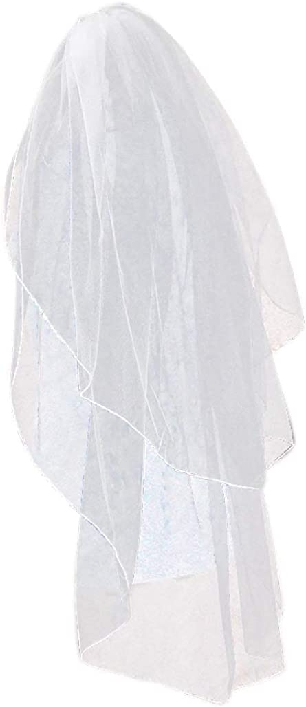 ZHENM Bridal Veil,2 Tier Pencil Edge Concise Wedding Veil with Comb