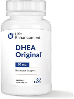 Life Enhancement DHEA Original | Hormone Balance for Men and Women | 50 mg DHEA with 10 mg Vitamin C for Improved Bioavailability | 60 Servings