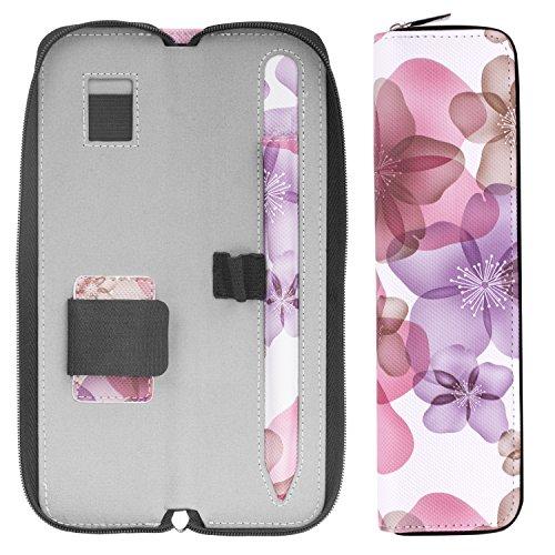 MoKo Hülle Kompatibel mit Apple Pencil, PU Leder Tasche Stiftschlaufe Sleeve Schreibzeug Schreibgerät Beutel Tasche Halter für iPad 10.2 2020/2019, iPad Pro 11 2020, iPad Pro 12.9 2020, Blumen Lila