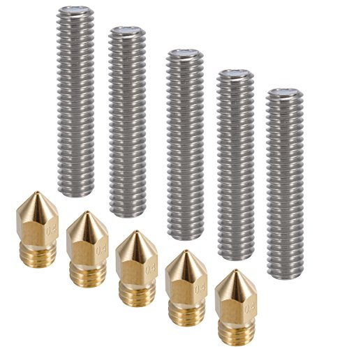 PChero 5pcs 30MM Length Extruder 1.75mm Tube and 5pcs 0.4mm Brass Extruder Nozzle Print Heads for Anet A8 and MK8 Makerbot Reprap 3D Printers