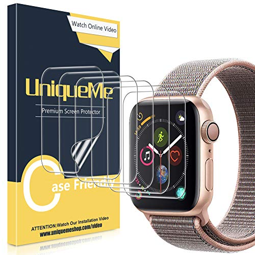UniqueMe [6 Pezzi] Pellicola Protettiva per Apple Watch 40mm Series 4/5, [Caso Amichevole] [Film Flessibile] Soft HD Clear TPU Film, Anti-Scratch