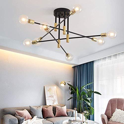 Lámpara de araña LED negra nórdica moderna luz de techo de hierro industrial de montaje semi empotrado para sala de estar dormitorio comedor cocina lámparas de iluminación E27 8 luces