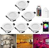 WLAN Bluetooth Mesh LED Downlight 5 W RGBWC Foco empotrable de techo con control remoto, lámpara de techo para baño, sala de estar, cocina, KTV, barras, 6 unidades