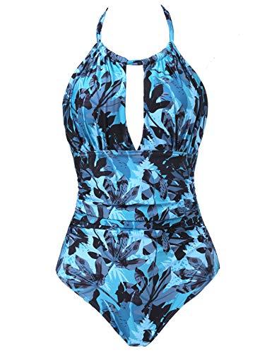 Joyaria Womens Halter Slimming One Piece Swimsuits Ruched Tummy Control Bathing Suit Monokini Swimwear (Palm Leaf, XL)
