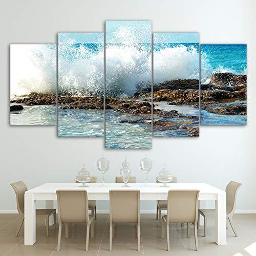 DGGDVP Arte de Pared Impreso en HD 5 Piezas Lienzo Arte mar Costa Olas Spindrift Pintura Cuadros de Pared tamaño de la habitación 1 con Marco