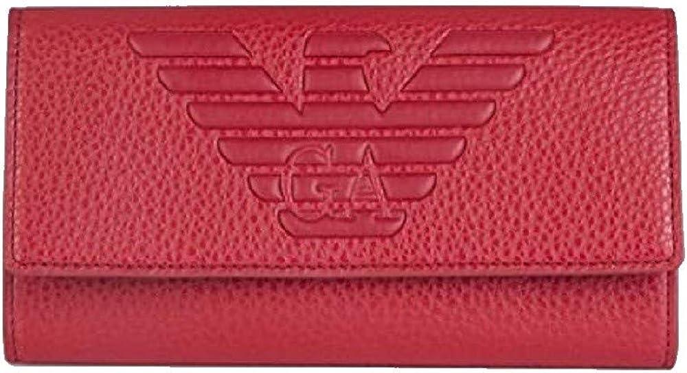 Emporio armani, portafoglio per donna rosso,in vera pelle Y3H179YGF8B80133
