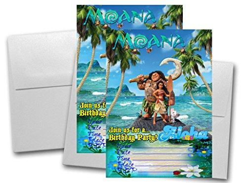 12 Moana Birthday Invitation Cards (12 White Envelops Included) #1