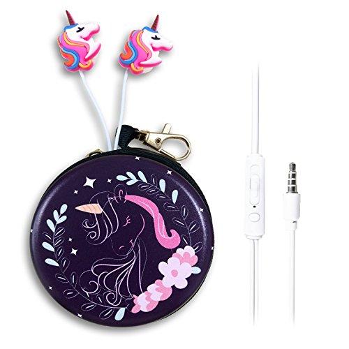 QearFun In-ear-hoofdtelefoon met microfoon, 3,5 mm, schattige 3D-dier eenhoorn/paard in cartoon-stijl, met hoofdtelefoonhoes, handsfree voorziening voor Apple, Samsung, Android-smartphones, MP3-spelers, Lady unicorn