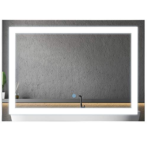 HOMCOM Lichtspiegel LED Spiegel Badspiegel Badezimmerspiegel Wandspiegel (Modell1/50 x 70 x 4cm)