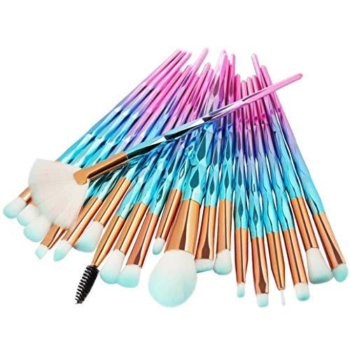 Einhorn Makeup Pinsel Set, INTVN 20 Stücke Lidschatten Make Up Pinsel Set + 30 Stücke Weiß Make-Up Wattepads - Pulver Foundation Rouge Lidschatten Blending Pinsel