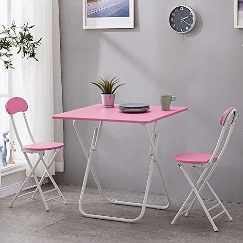 Zhyaj Juego De Muebles De Jardín/Juegos De Muebles De Patio - Mesa De Comedor Plegable Y 2 Sillas,Rosado,80cm Square Table