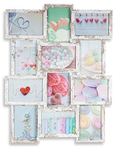levandeo Bilderrahmen Collage 45x58cm 12 Fotos 10x15cm Shabby Chic MDF Holz Glas Vintage Landhausstil fertig montiert Wanddeko