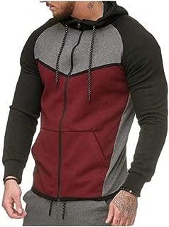 Mogogo Men's Contrast Sports for Fitness Zip-Front Hooded Sweatshirt