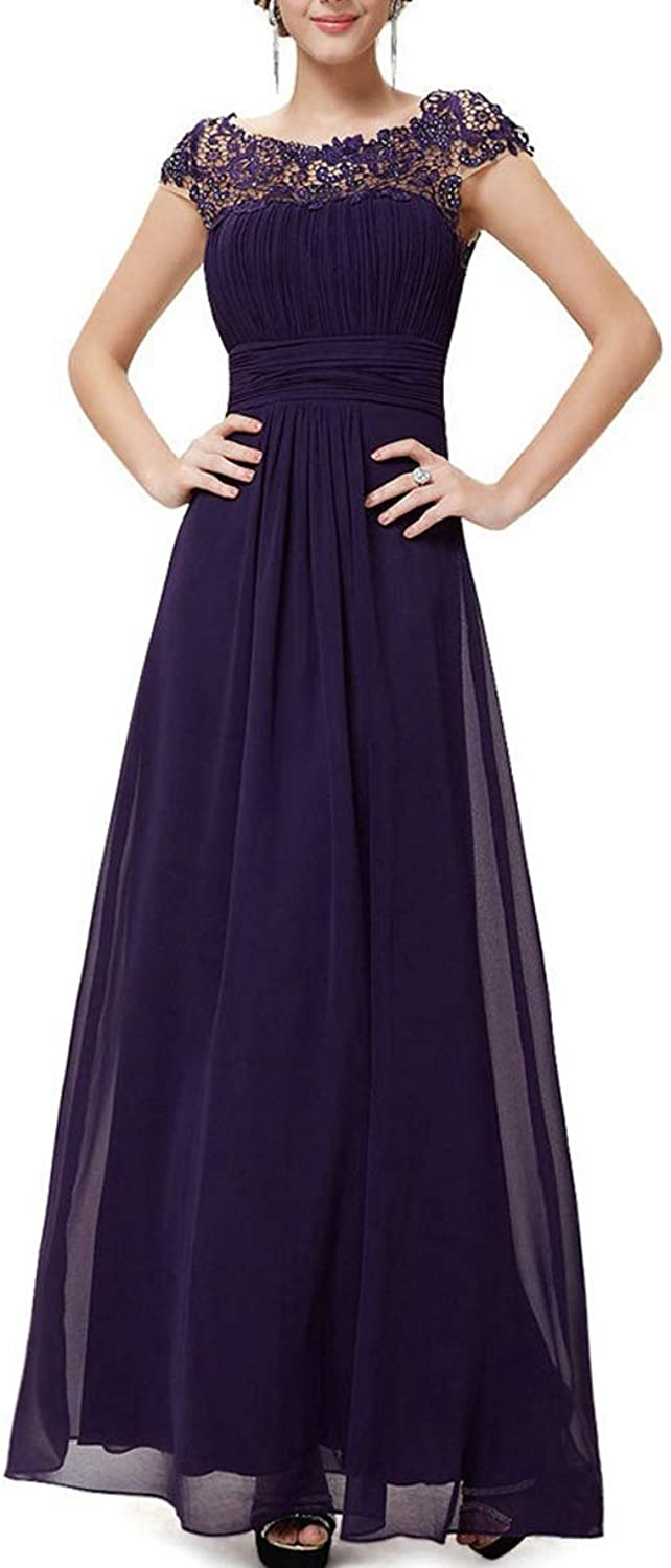 RQH Women's Cap Sleeves Elegant Lace Bridesmaid Maxi Party Dress, Boat Neck Evening Gown
