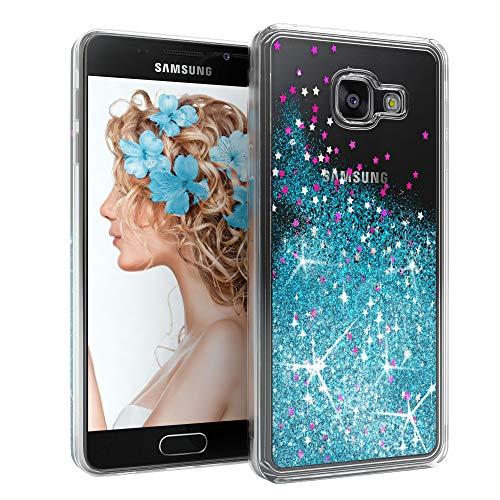EAZY CASE Hülle kompatibel mit Samsung Galaxy A3 (2016) Schutzhülle mit Flüssig-Glitzer, Handyhülle, Schutzhülle, Back Cover mit Glitter Flüssigkeit, aus TPU/Silikon, Transparent/Durchsichtig, Blau