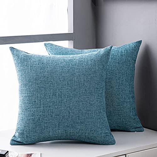 CNYG Cojín de lino elegante diseño nórdico suave almohada para sofá dormitorio decoración del hogar azul 40x40cm