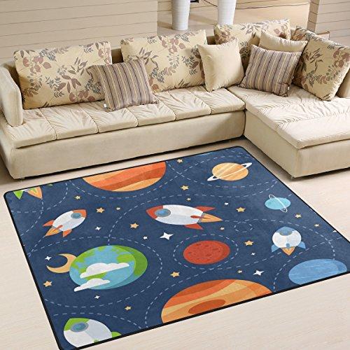Use7 Teppich mit Cartoon-Rakete, Weltraum, Planeten, Sterne, für Wohnzimmer, Schlafzimmer, 160 cm x 122 cm