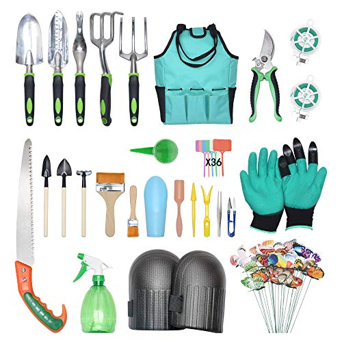 PBHEPJ Garden Tools Set.Succulent Tool Set.5 Piece Aluminum Kit.Pruning Shears.Butterfly.Knee Protection.Pruning Saws.Garden Storage Bag.Gardening Gloves.Gardening Gifts Tools Set for Man Woman