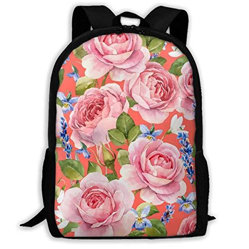 Hangdachang Pink Floral Pattern Backpack School Bag Casual Travel Bag for Teenagers Boys Girls