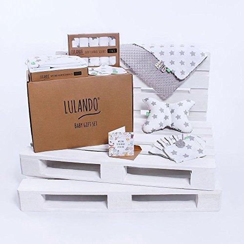 LULANDO Baby Geschenkset Geschenkbox Erstausstattung für Neugeborene und Babys. In zwei Varianten erhältlich: Groß (10-teilig) oder Klein (8-teilig). Mit dem Standard 100 von Öko-Tex.