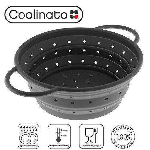 Coolinato Sieb aus Silikon, faltbar spülmaschinenfest, Nudelsieb Abtropfsieb Dampfgar Einsatz, Küchensieb, 24 cm Grau