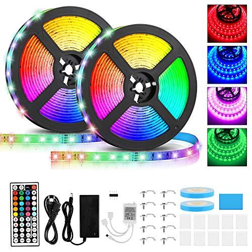 LED Strip 10M, RGB 2835 SMD 600 LED Stripes mit IR Kontroller IP65 Wasserdichte LED Streifen Fernbedienung 44 Tasten, Ein-Tasten-Dimmen für Weihnachten Feiertage Heim Küche Auto Dekoration