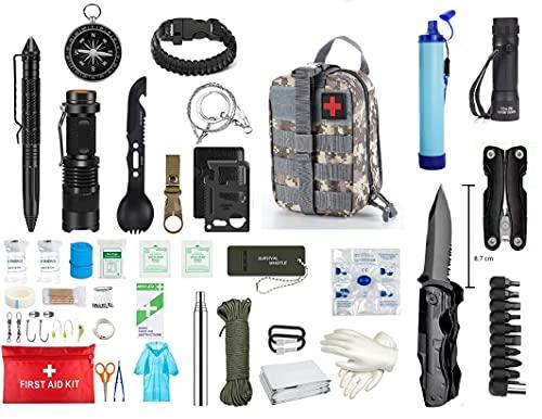 Kit de Supervivencia de Emergencia 3ª Generacion, Equipo de Supervivencia Profesional, Kit de Primeros Auxilios, La Bolsa táctica mas completa co