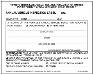 annual vehicle inspection form and label