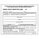 Annual Vehicle Inspection Label 50-pk. - 2-Ply, Vinyl with Mylar Laminate, 5' x 4' - Consecutively Numbered - Meet DOT AVIR Requirements - J. J. Keller & Associates