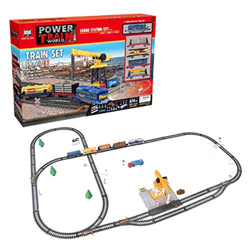 Haunen Juego de tren eléctrico para niños, tren eléctrico con luz y tren eléctrico, locomotora para niños (59 piezas).