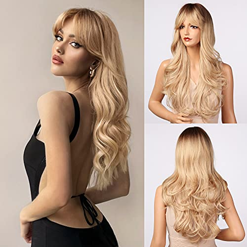 Honygebia Blonde Wig with Bangs - Long Wavy Ombre Curtain Bang Wigs for White Women, Light Ash Blond Dark Roots Synthetic Heat Resistant Hair, Natural Cute Strawberry Wigs for Everyday Party Cosplay