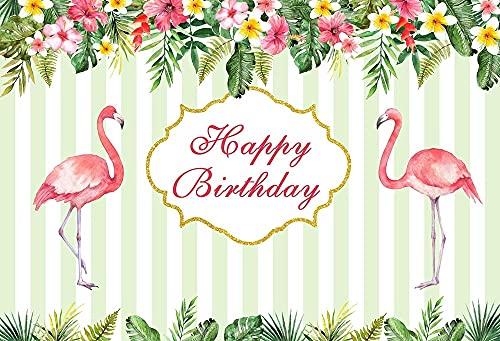 Fondo de fotografía Flamingo Tropical Palm Tree Beach Fiesta de cumpleaños Decoración Telón de Fondo Estudio fotográfico A3 10x7ft / 3x2.2m