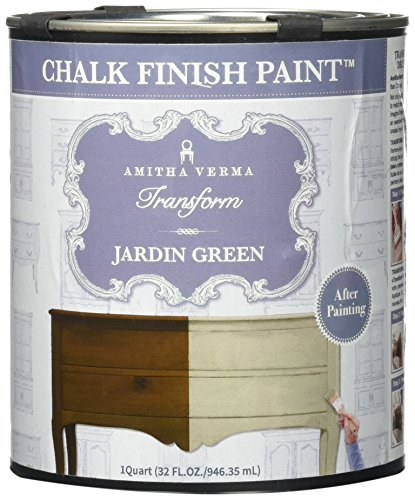 Amitha Verma Chalk Finish Paint, No Prep, One Coat, Fast Drying | DIY Makeover for Cabinets, Furniture & More, 1 Quart, (Jardin Green)