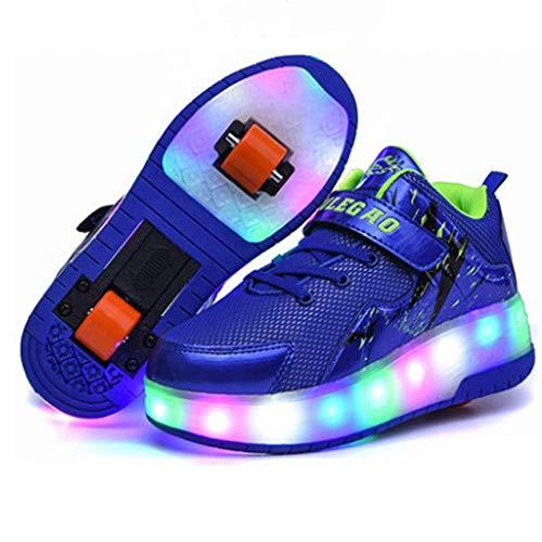 IDE Play 2020 LED-Streifen Roller Skate Schuhe mit Rad automatisch versenkbare Skateboarden Schuh-Mode-Sportcrosstrainer Vibration Flashing Gymnastik-Turnschuhe,Blau,12
