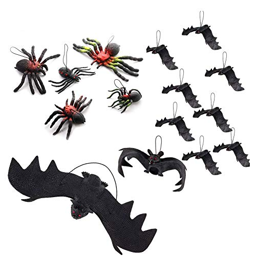 GIGIK 15 Pcs Practical Joke Toy Hanging Bat & Spider Realistic Looking Fake Spooky Bats Tricky Props Spiders Funny For Play Joke With Friends, Christmas Party Decorations and Supplies