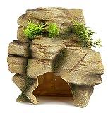 Pet Ting Rock con piante grande ornamento lucertole grotta nasconde fuori casa scalata, 21 cm