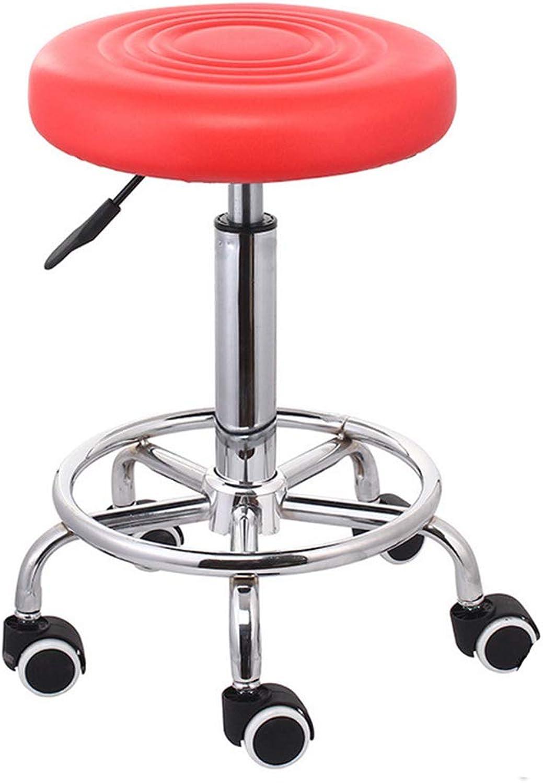 Medical Stool Round Rolling Stool Height Adjustable Massage Salon Stool Home Office Bar Stool,Red