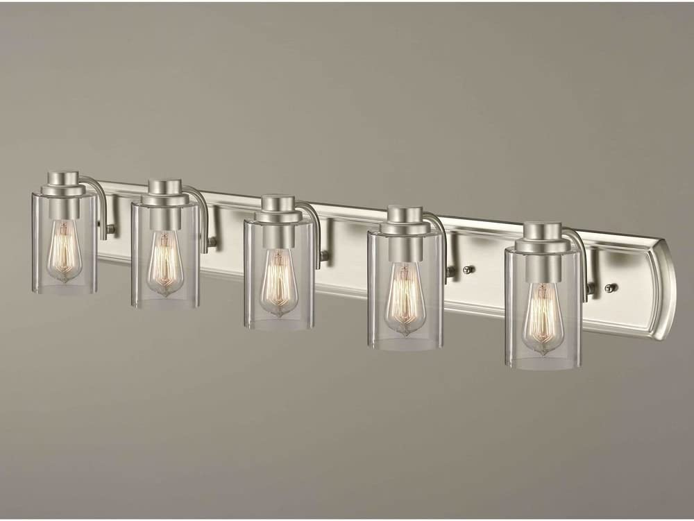 Industrial 5-Light Bathroom Year-end gift Max 66% OFF Light Nickel Satin in