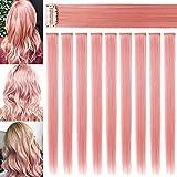 RYH 9 piezas Clip en extensiones de cabello de colores para niñas, mujeres, color rosa ahumado, peluca para niñas, clips multicolores para fiestas (rosa humo)