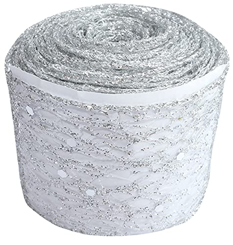 AERZETIX - C51719 - Nastro decorativo lucido in rete con paillettes bordi rinforzati - 50mm x 9 metri - colore argento - progetti creativi arte confezione regalo festa compleanno Natale