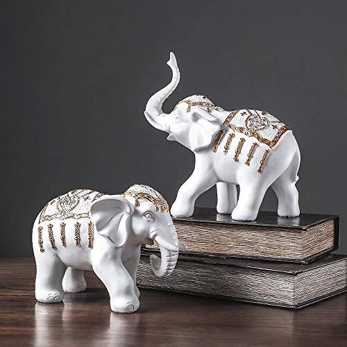 SWNN decoraciones para el hogar Pareja Elefante Blanco Porche Vino Gabinete Tienda Decoración Artesanía Resina Estilo Europeo Sala TV Gabinete