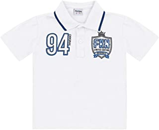 1effc51e03827 Camisa Polo Manga Curta Infantil Menino Branco - Fakini