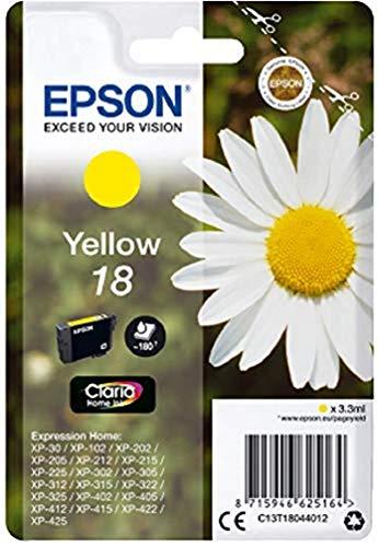 Epson C13T18044012 - Cartucho de tinta, amarillo válido para los modelos Expression Home XP-215, XP-212, XP-405WH, XP-405, XP-30, XP-205, XP-202 y otros, Ya disponible en Amazon Dash Replenishment