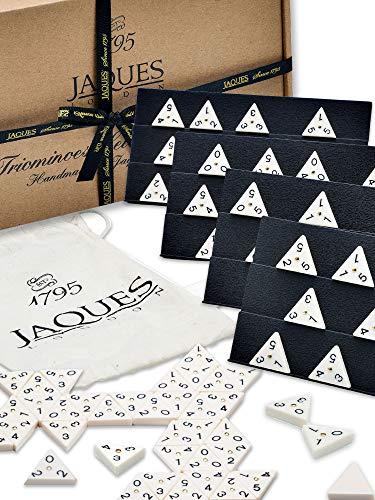 Jaques of London Klassische Triangle-Dominos - Schwere Dreiecks-Dominos in voller Größe mit vollem Rack-Set - hochwertige Aufbewahrungstasche - Triangle-Domino-Fliesen für Spieler Aller Altersklassen