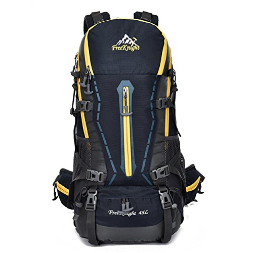 45L randonnée sac à dos nylon imperméable à l'eau grande capacité multifonction sac à dos amovible système de transport pour alpinisme voyages Escalade Sports Outdoor Pack H55 x L32 x T22 cm , black