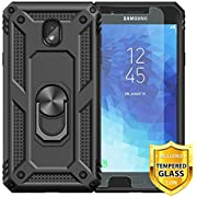TJS Phone Case for Samsung Galaxy J2 Core/J2 2019/J2 Pure/J2 Dash/J2 Shine, with [Tempered Glass Screen Protector][Impact Resistant][Defender][Metal Ring][Magnetic Support] Heavy Duty
