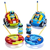 Prextex Pack of 2 Cartoon R/C Police Car and Race Car Radio Control